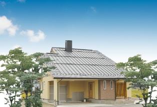 平屋風大屋根インナーガレージ付2階建住宅