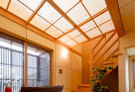 可動模様和紙張り光り障子天井
