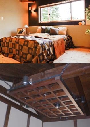 上)無垢パイン厚板張りの床と珪藻土色違い壁 下)スポットライト付き吊り格子組