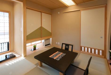 左右小飾り床付和室。縁側付